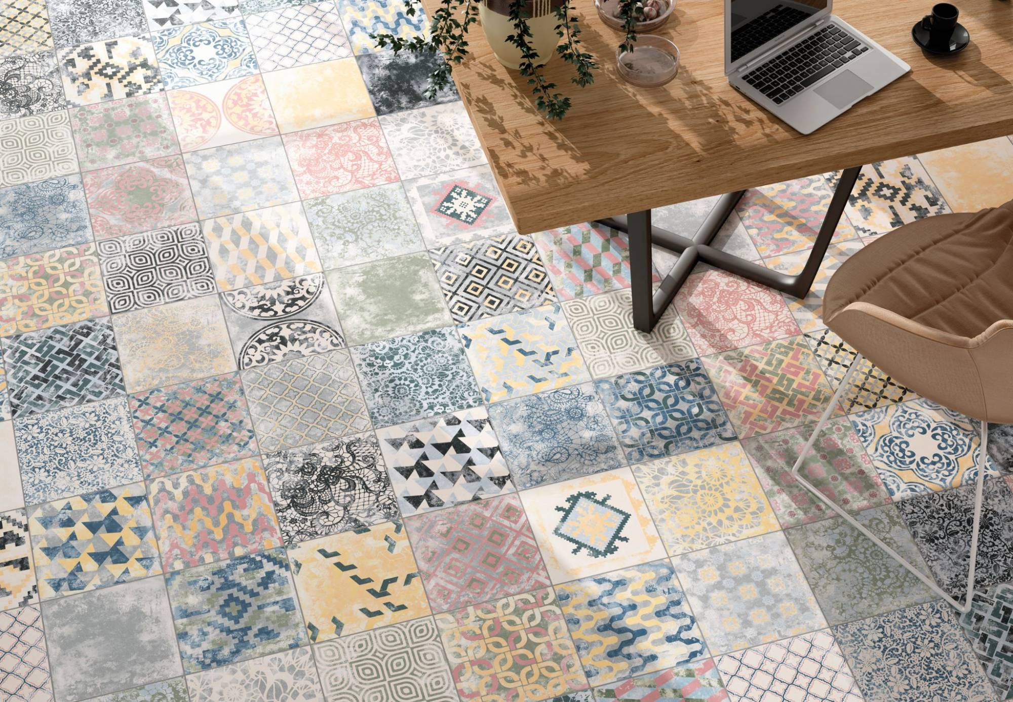 Vente de carreaux gr s c rame d cor imitation ciment - Carrelage imitation tomette hexagonale ...