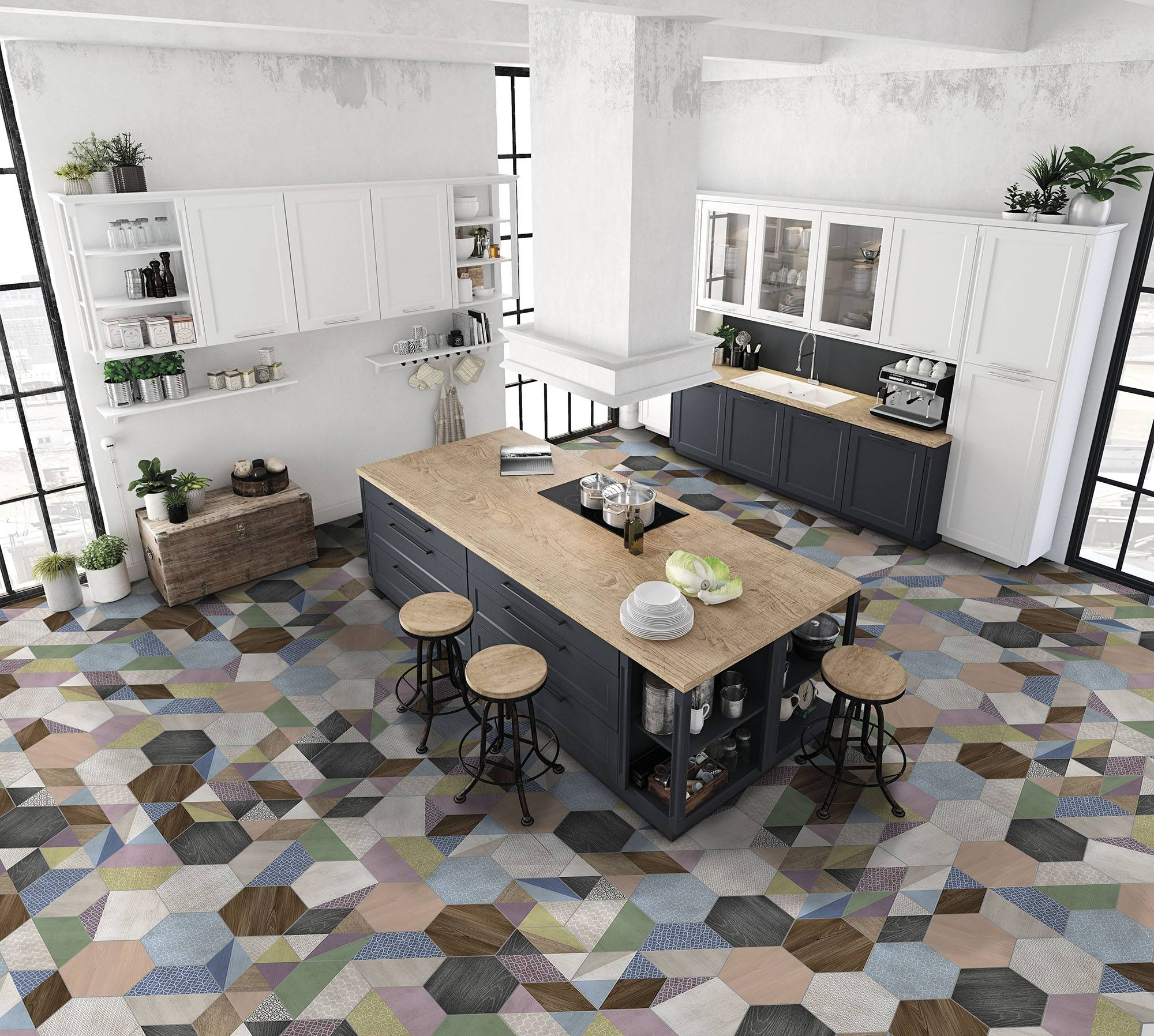 Plan de pose carrelage hexagonal
