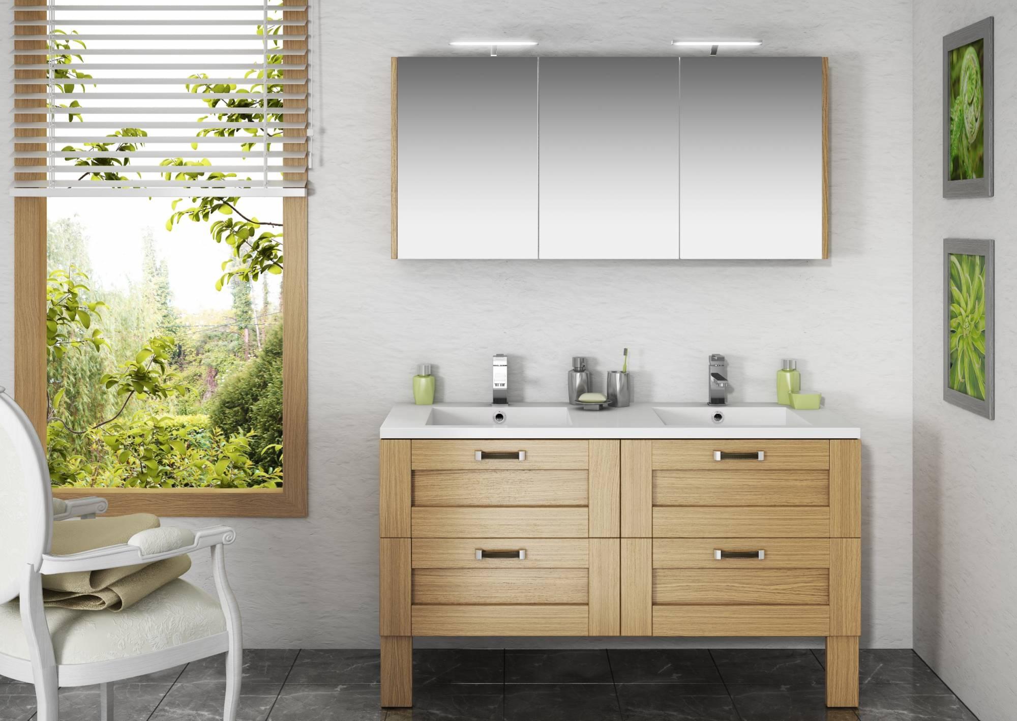 Vente de meuble suspendu pour salle de bains cosy en ch ne for Meuble salle de bain chene massif