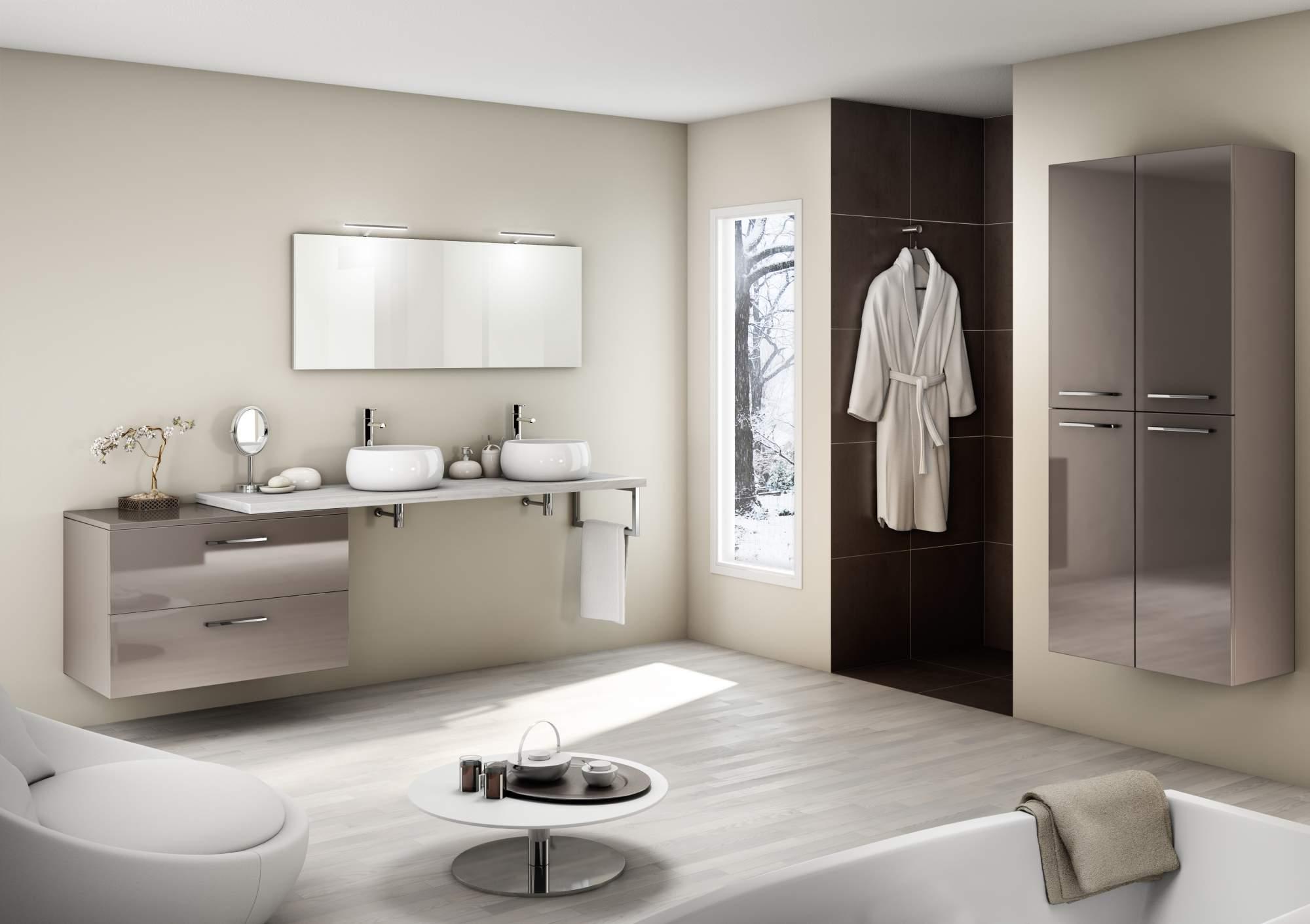 vente de meuble suspendu taupe brillant 2 tiroirs bouches. Black Bedroom Furniture Sets. Home Design Ideas