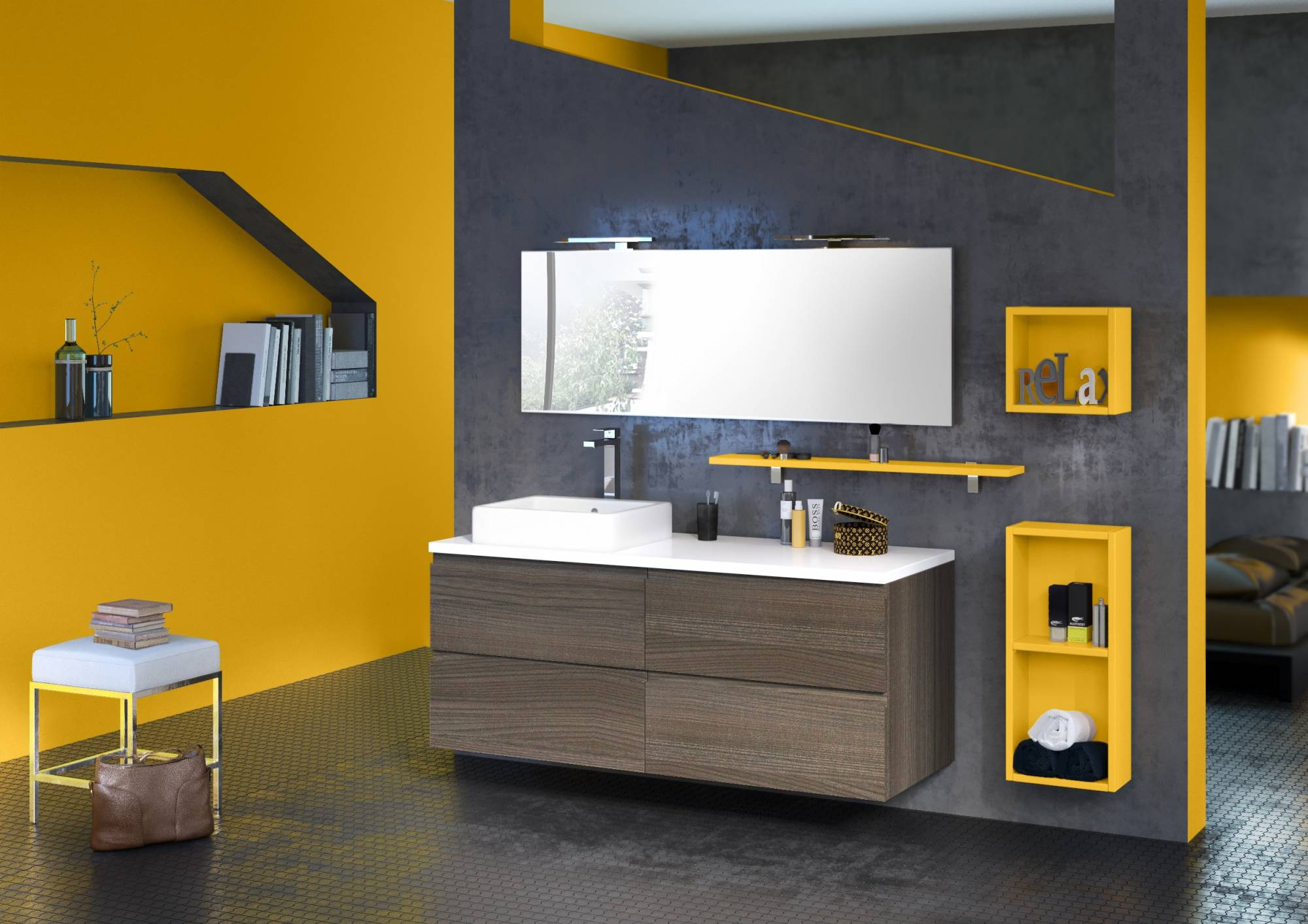 Vente de meuble suspendu pour salle de bains loft eguilles for Meubles salle de bain suspendu