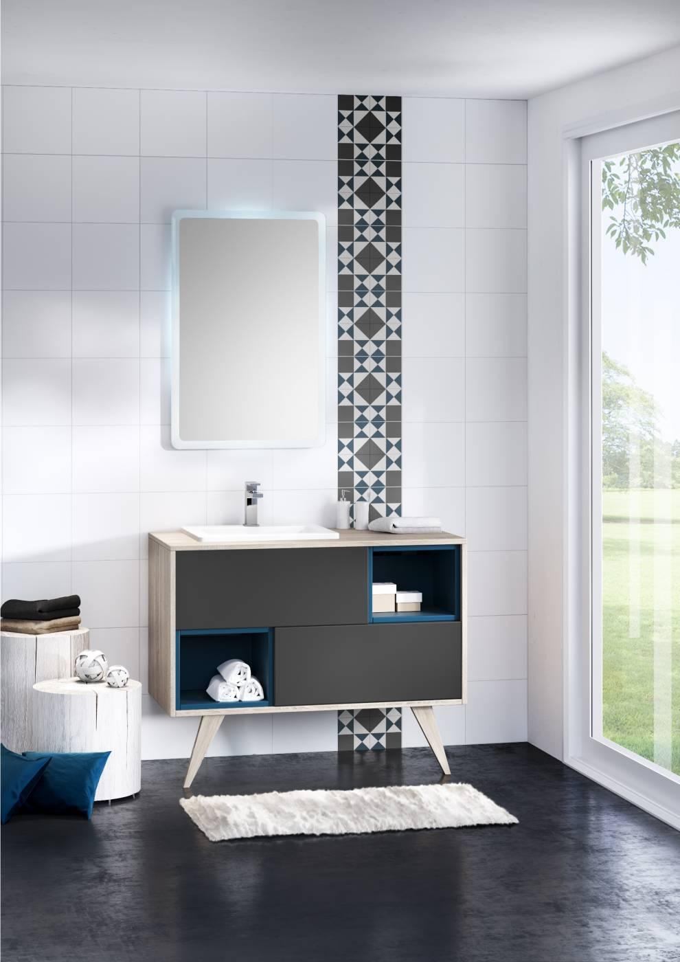 Meuble Suspendu Pour Salle De Bains Mosaïque Carrelage Intérieur - Meuble salle de bain sur pieds