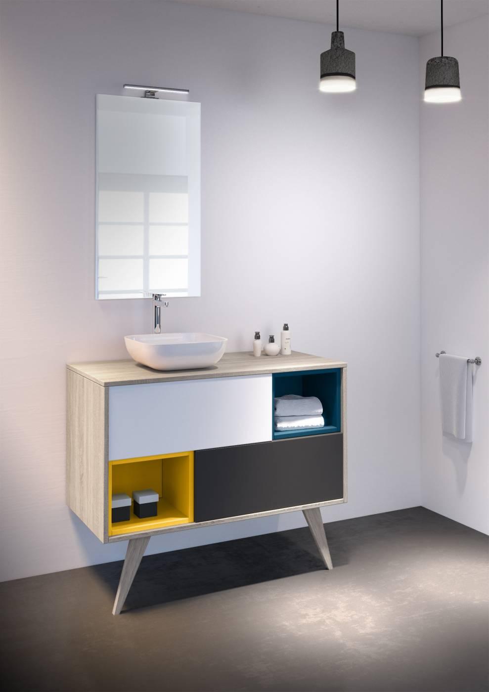 Meuble suspendu pour salle de bains Mosa¯que Carrelage intérieur