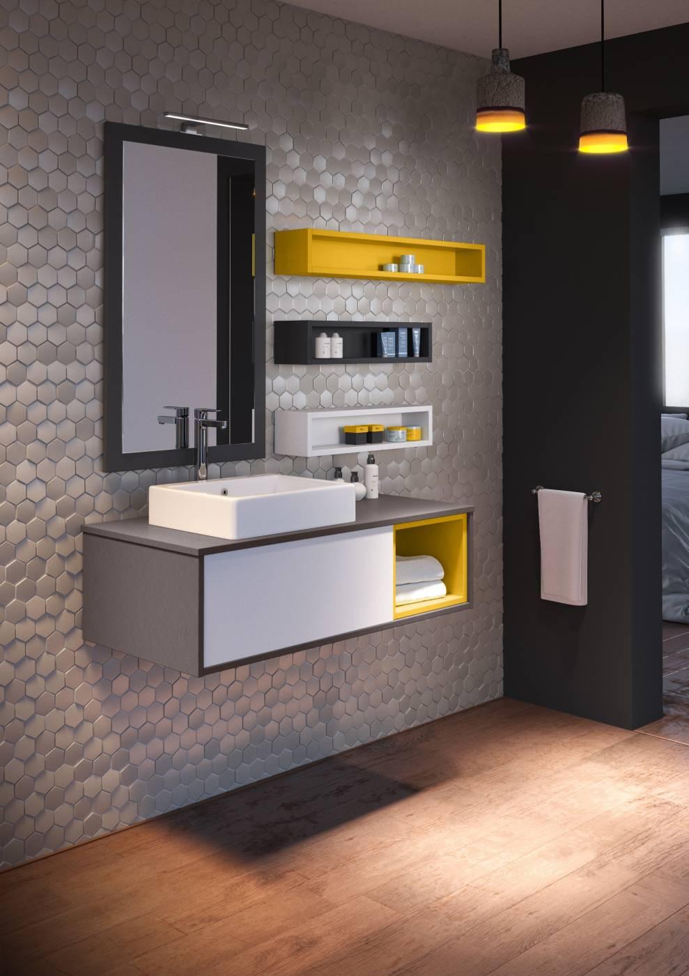 meuble suspendu pour salle de bains avec niche colore aix en provence 13100