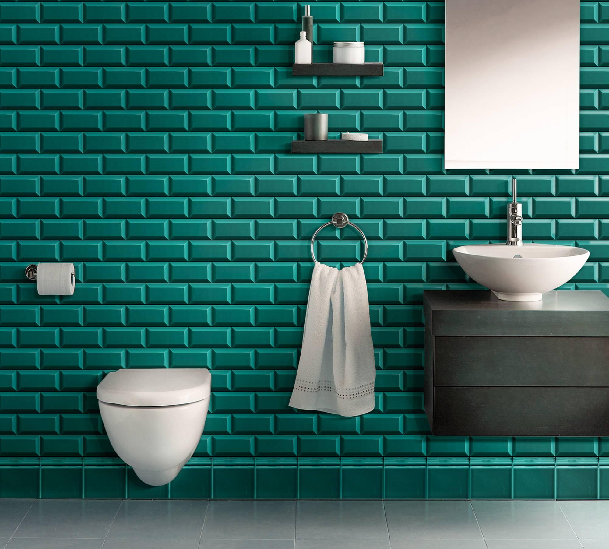 carreaux mtro turquoise pour salle de bains eguilles