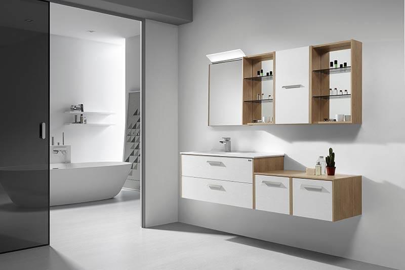 Meuble suspendu en bois / blanc pour salle de bains - Carrelage ...