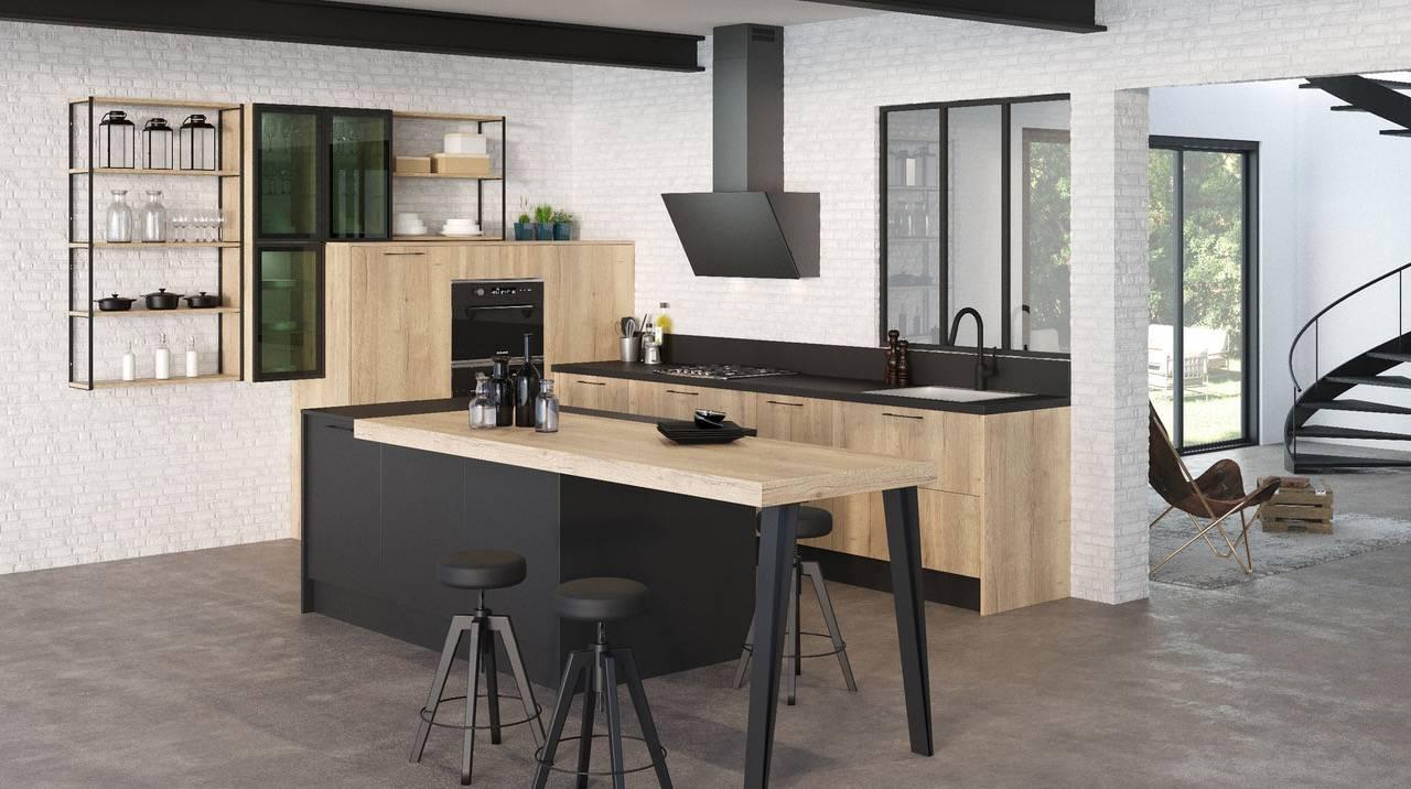cuisine noire mat et bois aix en provence carrelage int rieur et ext rieur eguilles salle. Black Bedroom Furniture Sets. Home Design Ideas