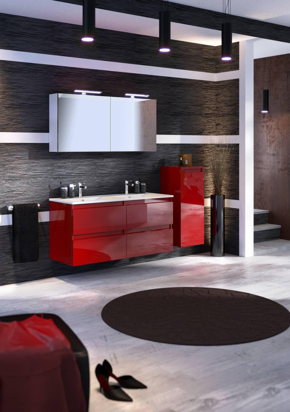 Vente de meuble suspendu pour salle de bains rivage for Carrelage rouge pour salle de bain