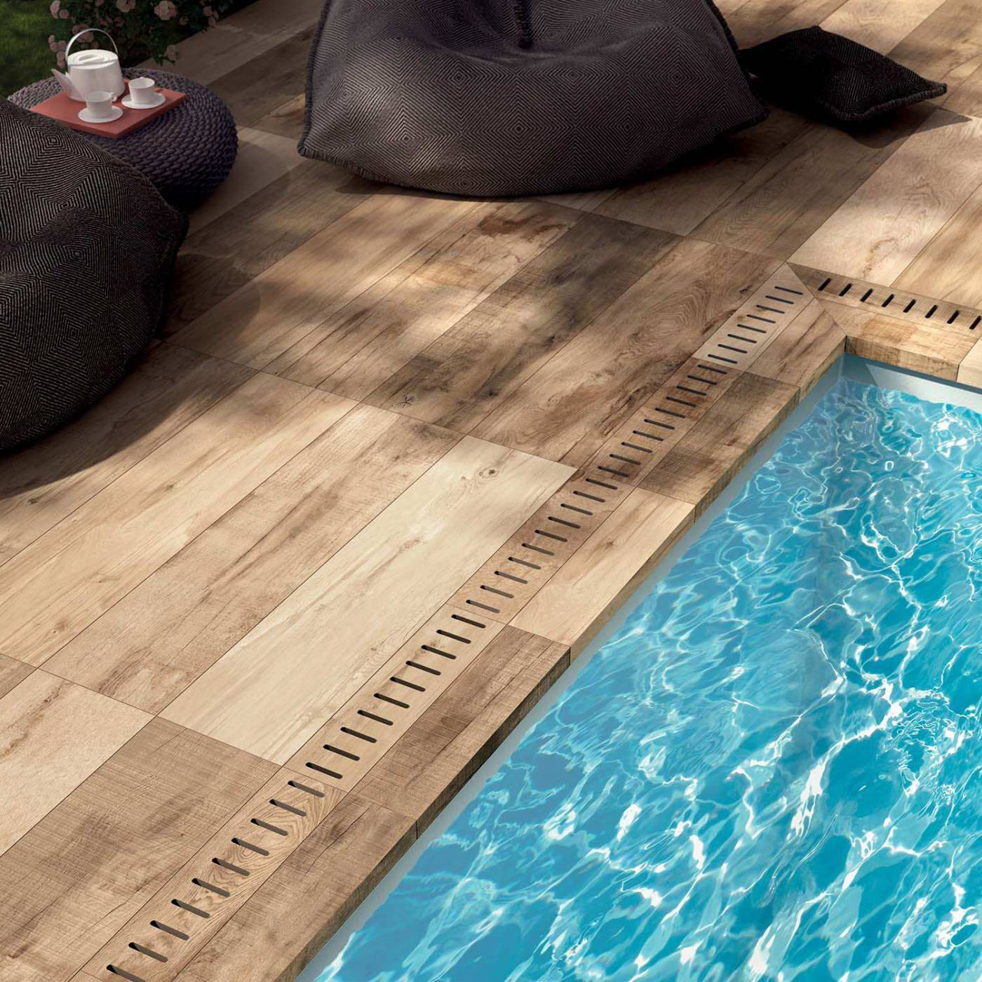 Terrasse en carrelage imitation bois simple carrelage for Carrelage terrasse piscine