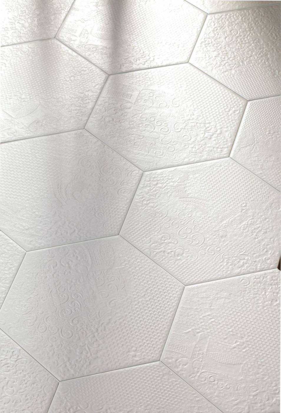 Carrelage imitation carreau de ciments hexagonaux eguilles for Carrelage blanc hexagonal