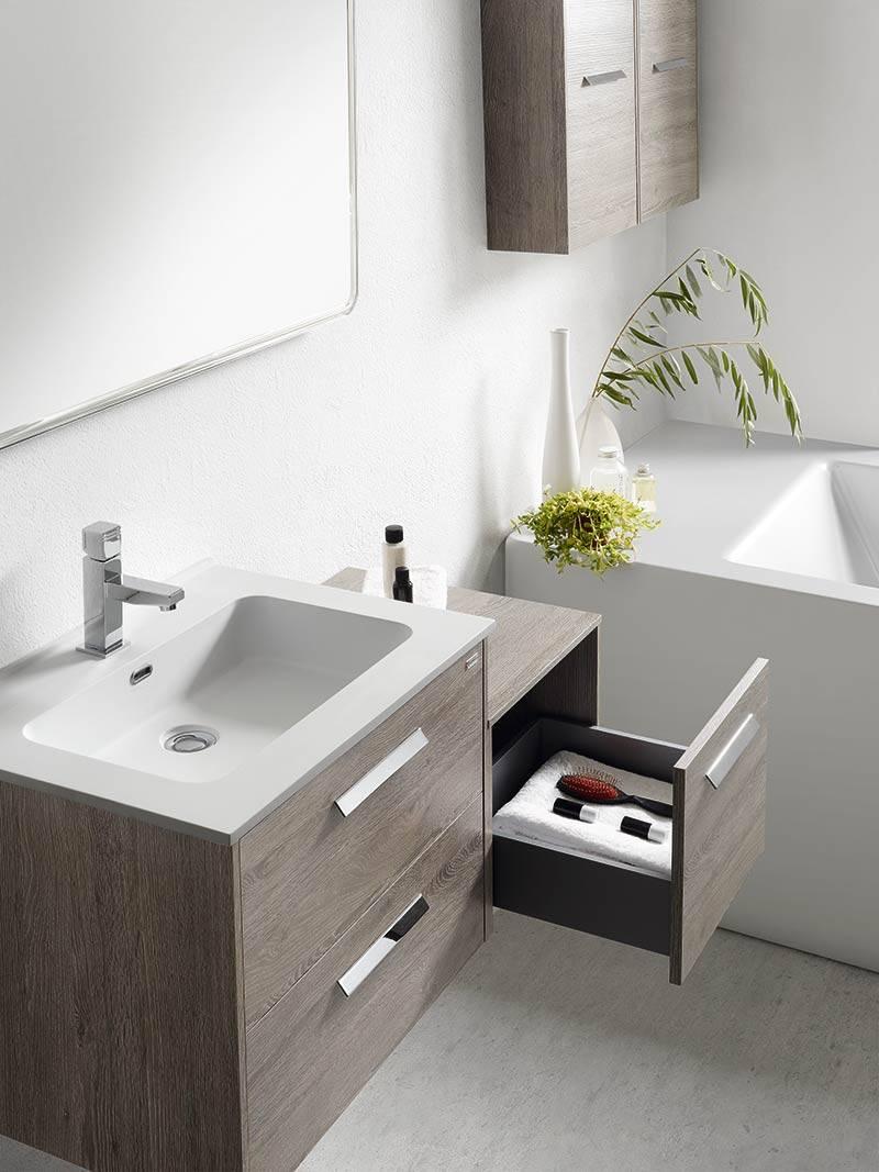 Meuble suspendu en bois blanc pour salle de bains for Meuble suspendu cuisine